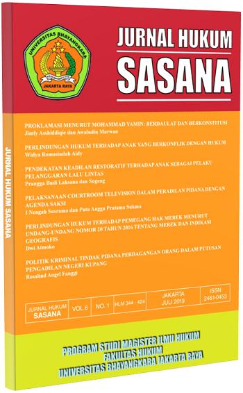 View Vol. 7 No. 1 (2021): Jurnal Hukum Sasana